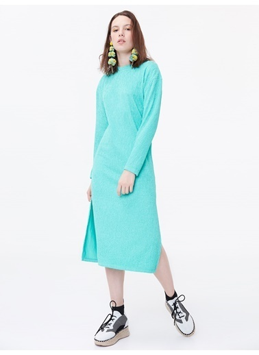 Twist Yan Yırtmaçlı Penye Elbise Yeşil